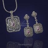 Barokowy Komplet biżuterii kolczyki i wisior. Piękny!