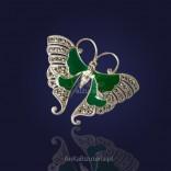 Biżuteria - Motyl srebrny z markazytami i zieloną emalią.