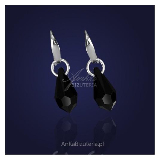 Kolczyki srebrne z kryształem Swarovski w kolorze CZARNYM.