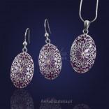 Biżuteria Srebrna-PROMOCJA! kolczyki i wisiorek malowane na szkle emalią.