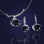 Komplet biżuterii srebrny. Naszyjnik i kolczyki z onyksem - 10% RABATU.