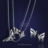 Motylki - srebrny rodowany komplet kolczyki i naszyjnik.
