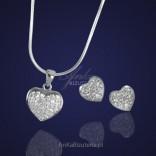 Piękna biżuteria srebrna .Serduszka z kryształkami.