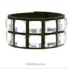 Ekstrawagancka bransoleta - połączenie ekskluzywnego blasku kryształów z alcantrą.