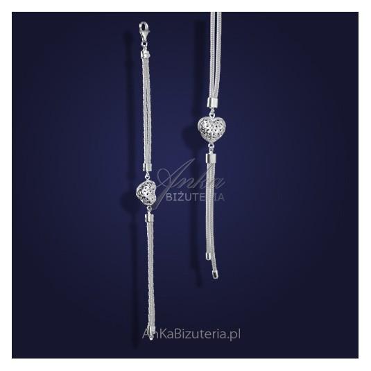 Stylowy KOMPLET biżuterii srebrnej z ażurowym serduszkiem.