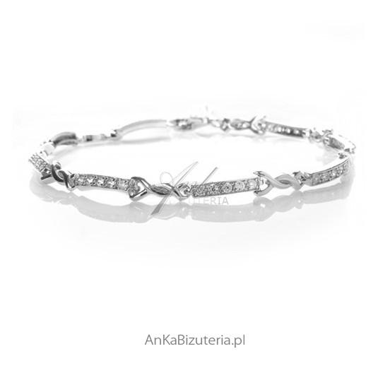 Biżuteria: Bransoletka srebrna z cyrkoniami.