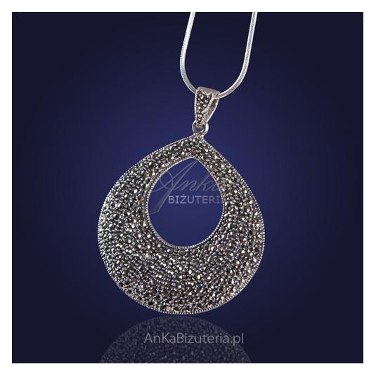 Biżuteria Srebrna - Duży wisior z markazytami.