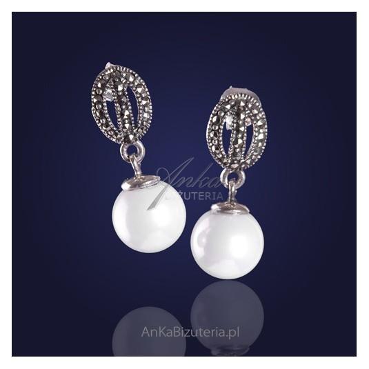 Biżuteria ze srebra - perełki kolczyki z markazytami idealnie zgrany duet
