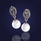 Biżuteria ze srebra kolczyki z perełkami oraz markazytami idealnie zgrany duet
