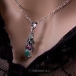 "Komplecik Biżuterii srebrnej - Absolutny - ""Take me"" -szafir, szmaragd, markazyty i rubin."