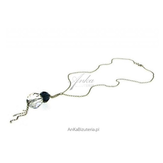 ATRAKCYJNA CENA! Srebrny naszyjnik z kryształów Swarovski - świetnie wpisuje się w trend marynarski.