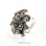 Pierścionek srebrny z markazytami - unikat w rozmiarze 15