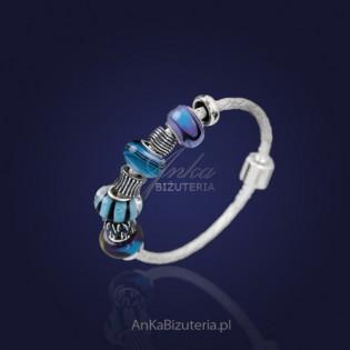 """Bransoletka """"Cristall"""" -srebro, szkło weneckie - niebieska."""