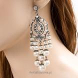 Hipnoza wytworne eleganckie kolczyki perełki oraz kryształki Lewanowicz