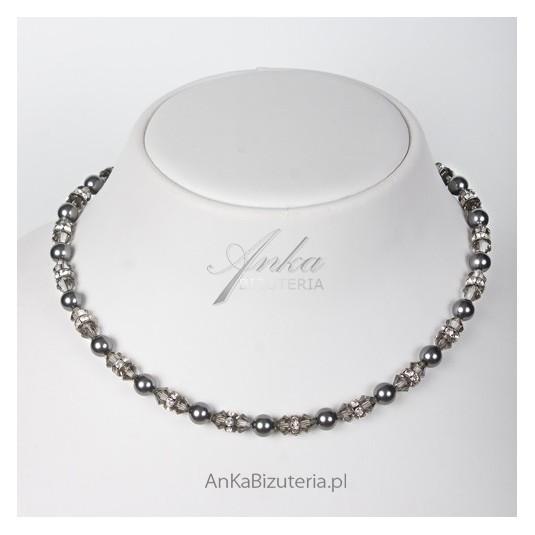 Srebrny naszyjnik i bransoletka z kryształami Swarovskiego i perłami.PROMOCJA TRWA 7 DNI.