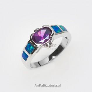 Niespotykana, unikatowa biżuteria z przecudnym rzadkim niebieskim opalem - srebro -19 i 14