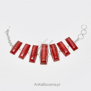 Bransoletka z czerwonym koralem ze srebra - UNIKAT