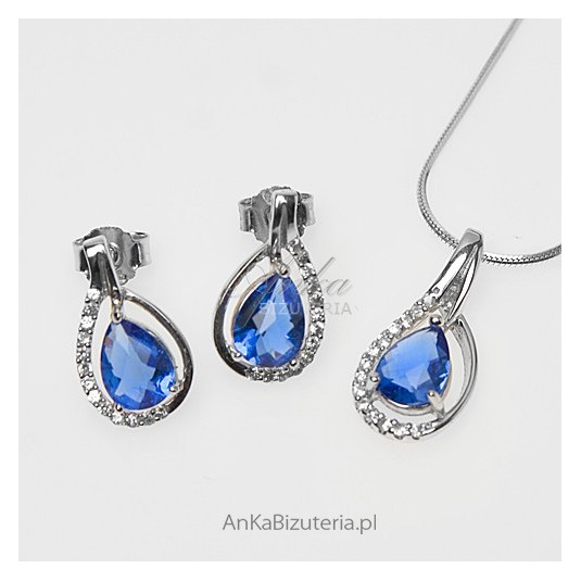 """""""California blue"""" - srebrny komplet z pięknymi cyrkoniami"""