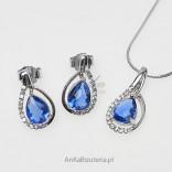 California blue - srebrny komplet z pięknymi cyrkoniami