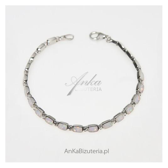 Unikatowa bransoletka srebrna z niebieskim opalem - CUDNA.