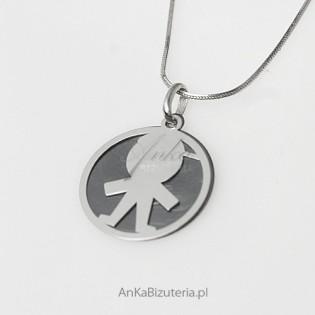 Dzidziuś-chłopczyk - srebrny oksydowany wisiorek dla Kobiet, Dziewczyn, dla Mamy