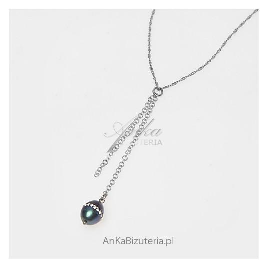 Niesamowity naszyjnik srebrny z naturalną perłą i kryształami Swarovski