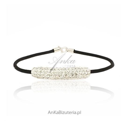 Bransoletka srebrna na czarnym sznureczku z kryształkami