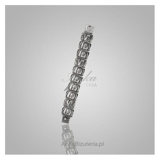 Okazała bransoletka srebrna - oksydowana i karbowana- biżuteria artystyczna