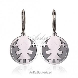 Dzidziuś -dziewczynka- srebrne oksydowane kolczyki dla Kobiet, Dziewczyn, dla Mamy