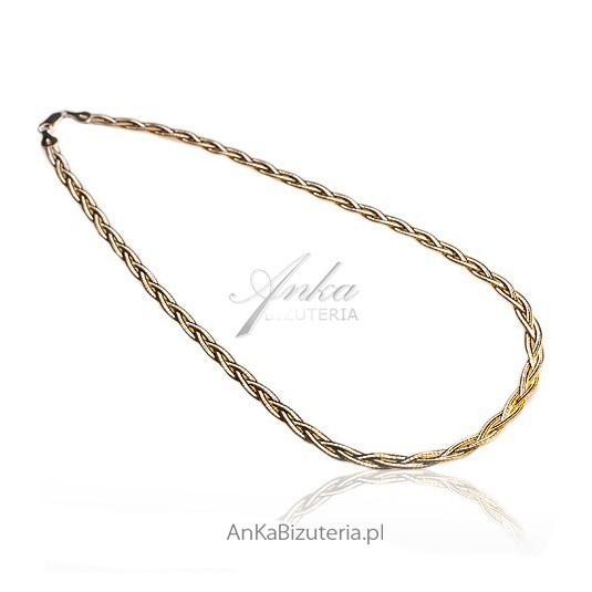 Srebrno-złoty łańcuszek, zapleciony warkocz -srebro rodowane z 14k złotem i diamentowane 45 cm