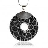 Piękny srebrny rodowany wisior okrągły z muszlą