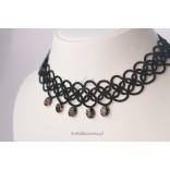 Biżuteria hand made KOLIA frywolitkowa z czarnych nici.