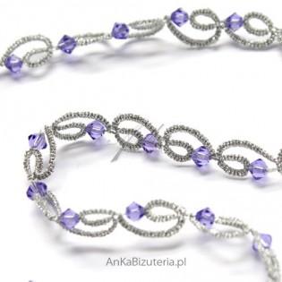 Złota kolia z kryształami SWAROVSKI-lilia z frywolitki
