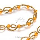 Kolia z kryształami SVAROWSKI-pomarańcz z frywolitki