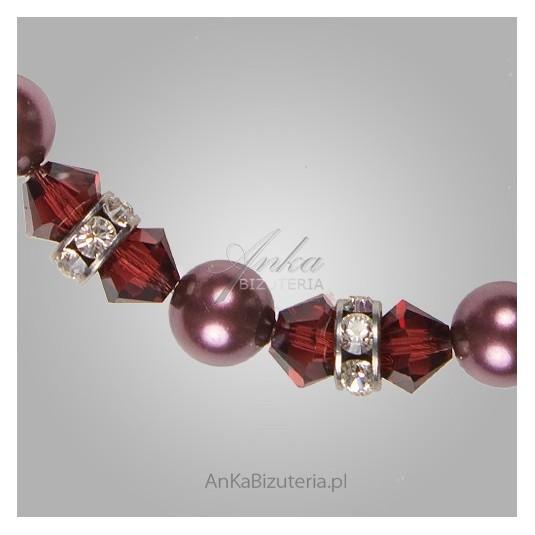 Srebrny naszyjnik bordowy z kryształami Swarovskiego i perłami SPARK.