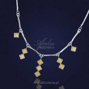 Kolia z srebrna z żółtym bursztynem -Wiszące Sopelki