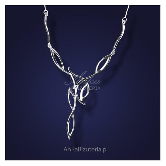 """Kolia srebrna - """"Uroczy wieczór z fantazją"""" z rodowanego srebra"""