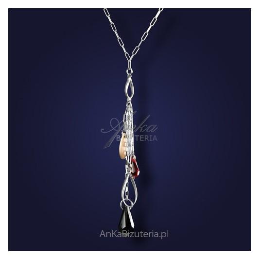 Biżuteria srebrna-Kolia z kryształami Swarovski i elementami złoconymi.