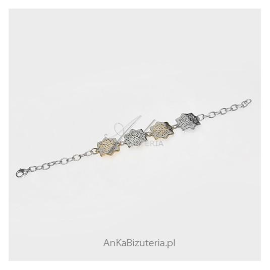 Biżuteria ze stali szlachetnej - bransoletka w geometryczne wzory - gwiazdki.