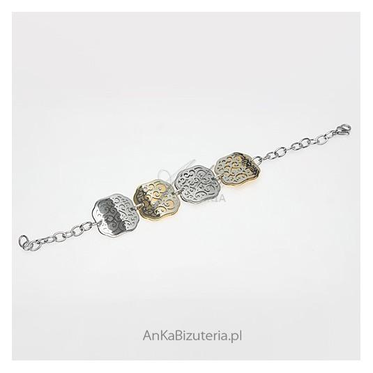 Biżuteria ze stali szlachetnej - bransoletka w geometryczne wzory.