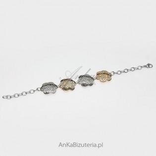 Biżuteria ze stali szlachetnej - bransoletka w geometryczne wzory - kwiatki.