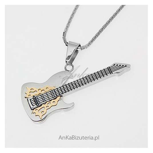 Prawdziwy raj dla gadżeciarzy - wisior w kształcie gitary - ze stali szlachetnej