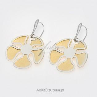Koniczynka -duże kolczyki srebrne pokryte 14 k złotem