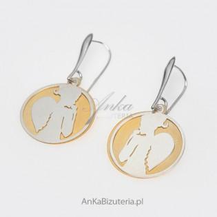 Anielica -kolczyki srebrne na tle ze srebra pokrytego 14 k złotem, kolczyki.