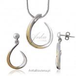 Kobieca biżuteria -srebrny komplet rodowany i pozłacany