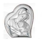 Maryja tuląca Jezusa -dewocjonalia srebrne-Prezent na Chrzest, Komunię, Roczek, Ślub, Prymicje, Urodziny GRAWER