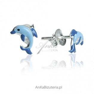 Kolczyki srebrne rodowane dla dziewczynek - Delfinki