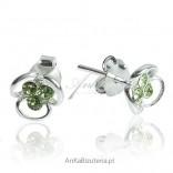 Kolczyki srebrne dla dziewczynek - Zielony kwiatek