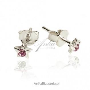 Kolczyki srebrne dla dziewczynek - Maleńkie fioletowe kropeczki