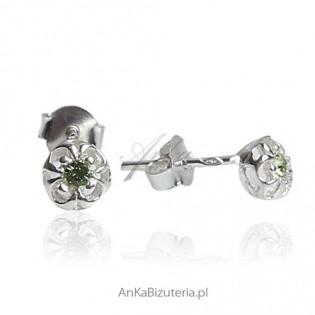Kolczyki srebrne dla dziewczynek - Maleńkie zielone gwiazdki